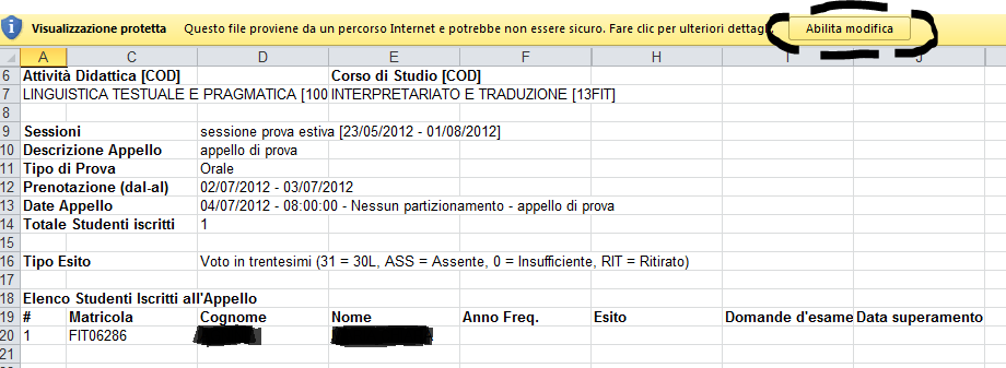 Fig.23: Abilita modifiche al file Excel.