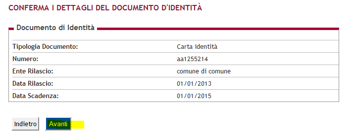 fig.25: Conferma dati del documento di identità